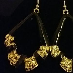 Paparazzi Jewelry - Paparazzi BLK Enamel & Rhinestone Earrings Pierced